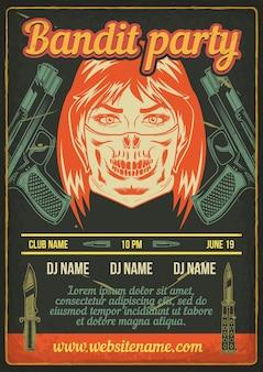 Reclame posterontwerp met illustratie van een bandietmeisje met pistolen