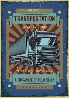 Reclame posterontwerp met illustratie van een vrachtwagen