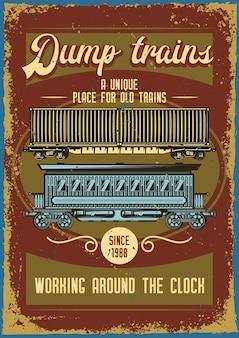 Reclame posterontwerp met illustratie van verschillende treinen