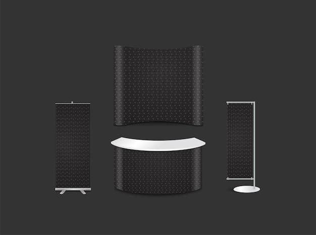 Reclame tentoonstelling stand ontwerp met zwarte metalen patronen textuur staal achtergrond huisstijl stijl, vectorillustratie