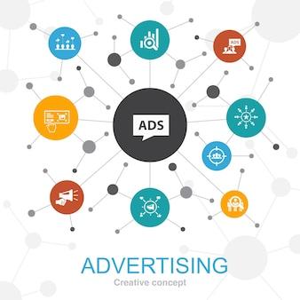 Reclame trendy webconcept met pictogrammen. bevat iconen als marktonderzoek, promotie, doelgroep, merkbekendheid
