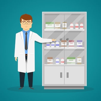 Reclame van geneesmiddelenontwerp met jonge arts en kabinet met drugs