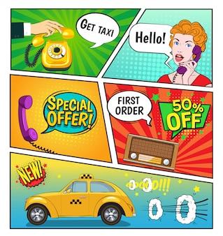Reclame van taxi stripboekpagina