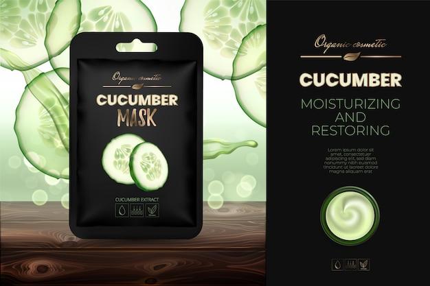Reclame voor komkommerstof gezichtsmasker met een hydraterende werking. advertentieconcept voor een tijdschrift of catalogus.