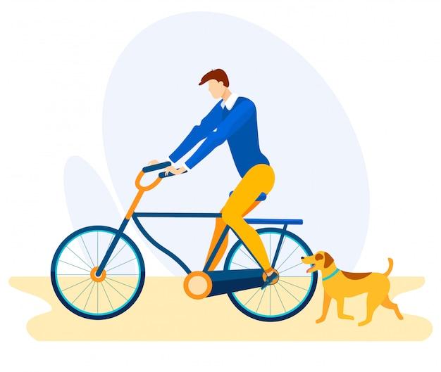 Reclamebanner fietsrit met hond cartoon.