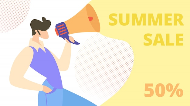 Reclamebanner geschreven zomerverkoop