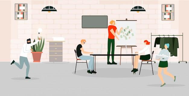 Reclamebanner kantoor werkgebied cartoon plat