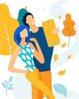 Reclamebanner man en vrouw nemen selfie.