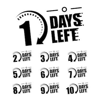 Reclamebanner met het aantal resterende dagen. vectorillustratie op een witte achtergrond.