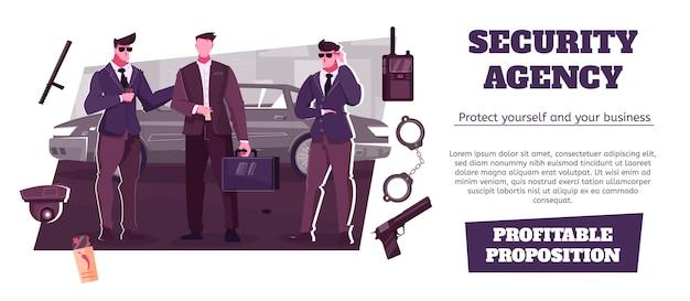Reclamebanner van beveiligingsbureau die winstgevende propositie biedt voor zakelijke bescherming