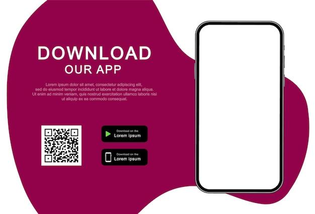 Reclamebanner voor het downloaden van mobiele app. download onze app voor mobiele telefoon. smartphone met leeg scherm voor uw app.