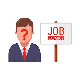 Reclamebord open vacature voor werk. zoeken naar een nieuwe medewerker op kantoor.