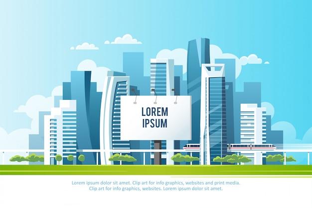 Reclamebord voor grote steden om uw reclame te plaatsen tegen de achtergrond van een stadsgezicht met wolkenkrabbers, metro en bomen.