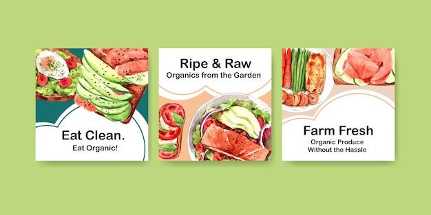 Reclamemalplaatje met gezond en biologisch voedselontwerp