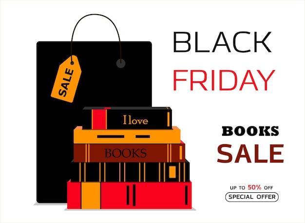 Reclameposter voor black friday een winkel die boeken en tijdschriften verkoopt