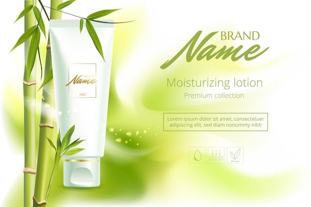 Reclameposter voor cosmetisch product voor catalogus, tijdschrift. cosmetisch pakket. hydraterende crème, gel, bodylotion met groene thee-extract