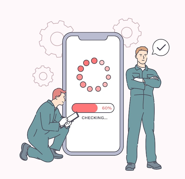 Reconditionering van elektronische apparaten, onderhoud van de telefoon. werknemers die smartphone repareren in gadgetservice. probleemoplossing en onderhoud van mobiele telefoon door reparatie.