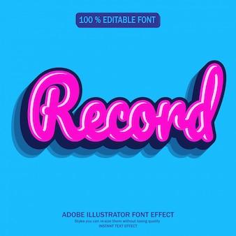 Record sticker tekststijl