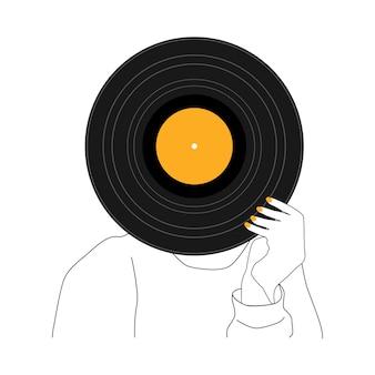 Record vinyl muziek doodle illustratie. muzikale achtergrond. vintage-stijl. vector tekening. platte cartoon achtergrond.
