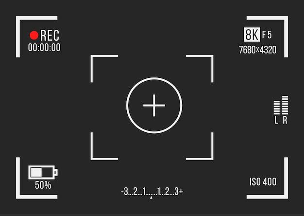 Recorder cam display rec zoekers scherm voor filmopname preview vector