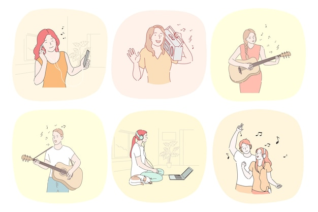 Recreatie antistress dansmuziek set concept.
