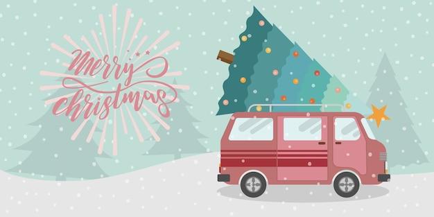 Recreatiebestelwagen en kerstboom met sneeuwval. vrolijk kerstfeest en een gelukkig nieuwjaar.