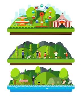 Recreatiepark met bergen en heuvels.