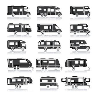 Recreatieve voertuig zwarte pictogrammen