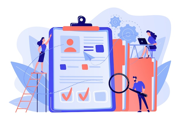 Recruiters en managers die op zoek zijn naar een kandidaat in een enorm cv voor een functie. wervingsbureau, personeelsdienst, wervingsnetwerk concept illustratie
