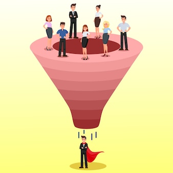 Recruitment funnel, candidate selection clipart