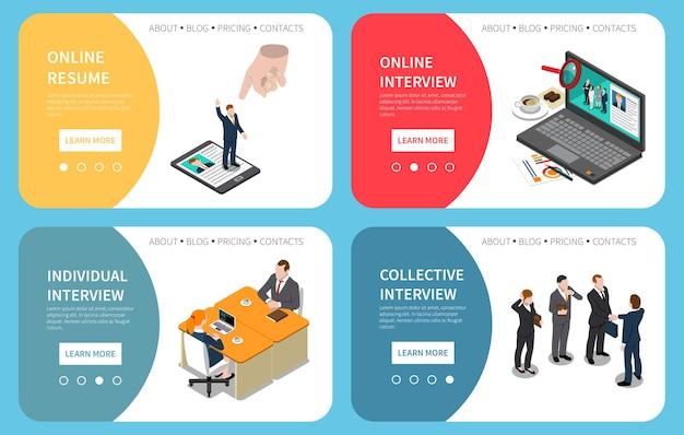 Recruitment hiring hr-managementwebsitemalplaatje met geïsoleerde online cv-interviewtips