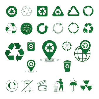 Recycle afval symbool groene pijlen logo set web icoon collectie