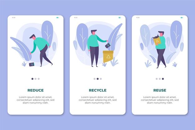 Recycle app mobiele telefoonschermen