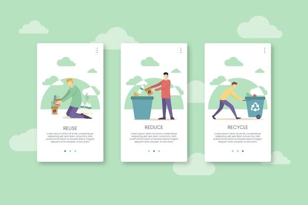 Recycle app-schermen met mobiele telefoon