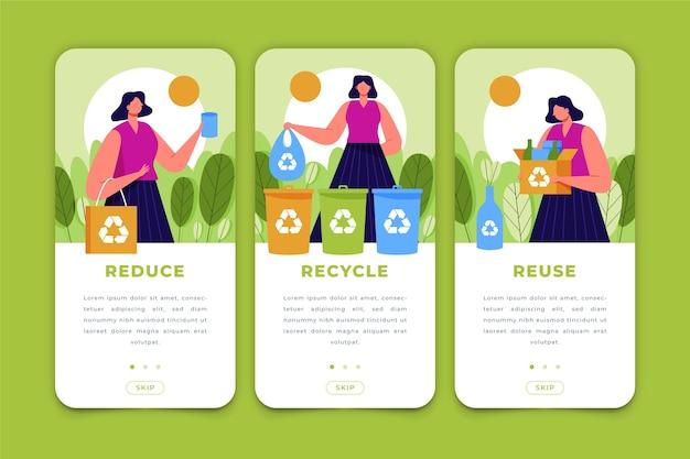 Recycle app-schermen voor mobiele telefoon