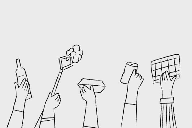 Recycle doodle vector handen met afval, milieuvriendelijk concept