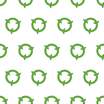 Recycle driehoek naadloos patroon op een witte achtergrond. eco groen gerecycleerd illustratie
