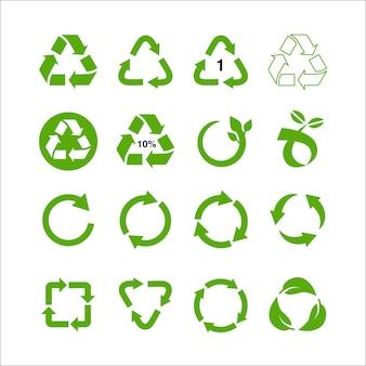 Recycle en ecologie iconen collectie hergebruik afval concept, gerecycled papier en industriële pakket marks vector illustratie geïsoleerd op een witte achtergrond