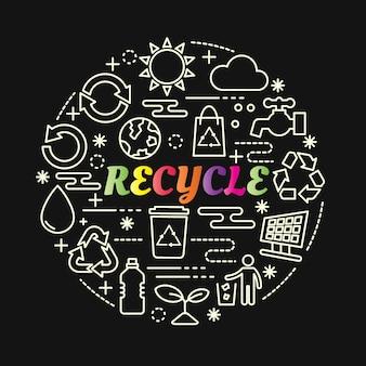 Recycle kleurrijke verloop met lijn pictogrammen instellen