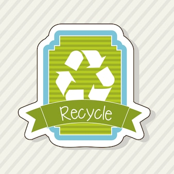 Recycle label over beige achtergrond vectorillustratie