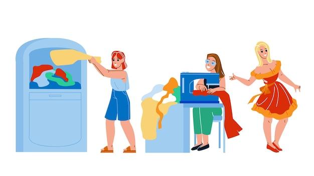 Recycle mode kleding bedrijfsproces. vrouw gooit gebruikte kleding weg in een container voor het recyclen van afval, naaister recyclet en creëert een modieuze jurk.
