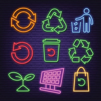 Recycle neon pictogrammen