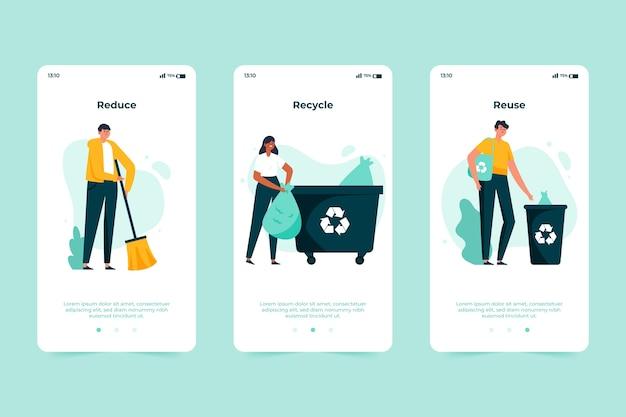 Recycle onboarding app-scherm