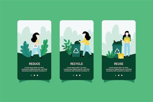 Recycle onboarding app schermen collectie