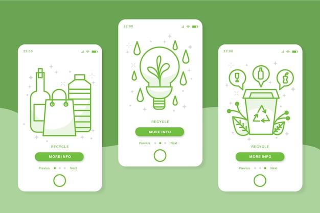 Recycle onboarding app-schermen in groene kleur