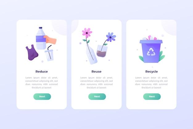 Recycle onboarding app-schermen