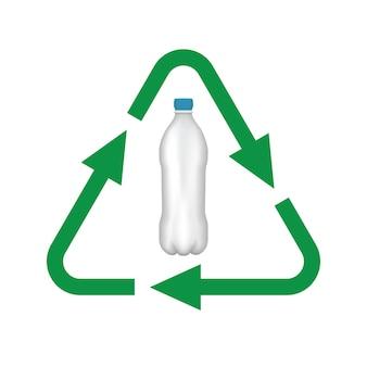 Recycle plastic fles vector lijn pictogram.