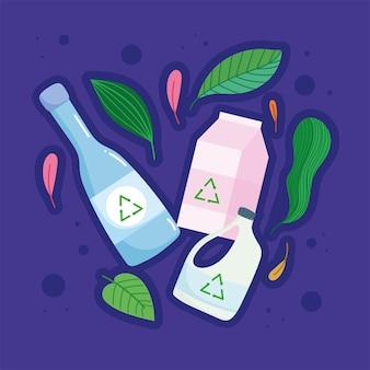 Recycle plastic glas en karton