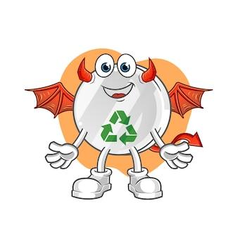 Recycle teken demon met vleugels karakter illustratie