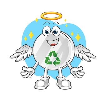 Recycle teken engel met vleugels illustratie